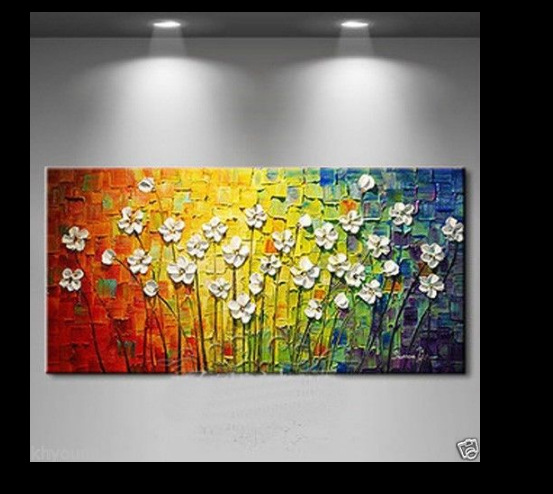 knife painting flowers 100% Hand-painted Modern Canvas Wall Art Floral Oil Paintings on Canvas Home Decor pictures for bedroom(China (Mainland))