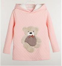 2015 Winter Girl's Fashion Bear Design Cotton Sweatshirt Girls Warm Hoodies(China (Mainland))