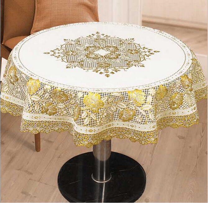 High Quality Hot Sale Elegant Gilding Home PVC Lace Table Cloth for Weddings Oilproof Waterproof Tea Tablecloth(China (Mainland))