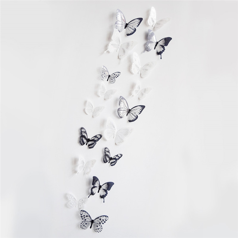 Fashion 2015 diy 18 Pcs Butterflies PVC Removable Room Decal Art DIY Wall Sticker Home Decor wall poster free shipping(China (Mainland))