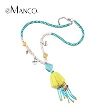 Buy eManco 11 Color Ethnic Bohemia Tassel Statement Necklaces & Pendants Women Resin Turquoise Wood Beads Chain Yellow Jewelry for $12.99 in AliExpress store