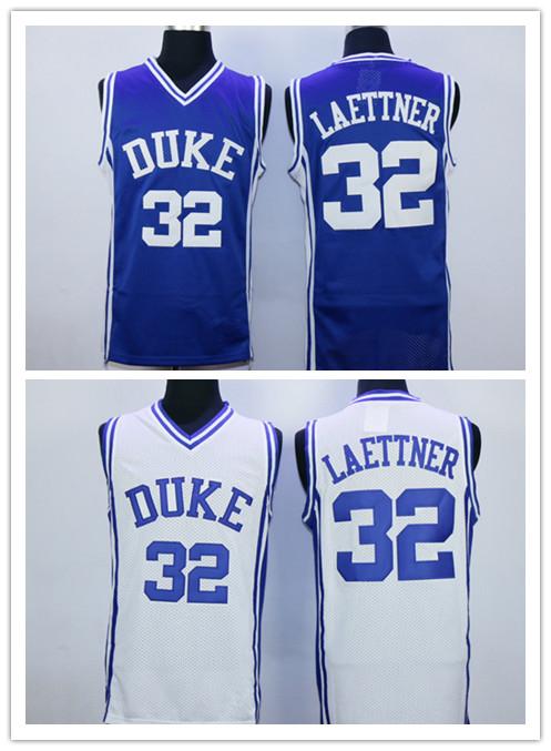 College Basketball Shirt Duke Blue Devils 32 Christian Laettner Jerseys University Blue White Mens Free Shipping All Stitched(China (Mainland))
