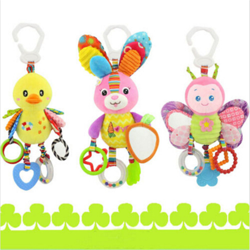 Baby bed Stroller hang bell rattles toys cribs hanging toys cot mobility plush Musical Newbor Soft mobile with BB Sounder(China (Mainland))