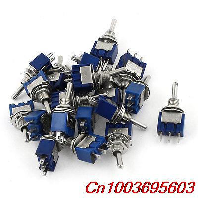 YOCOMYLY (TM) 20pcs AC125V 6A SPDT ON-OFF-ON 3 Pin Latching Miniature Toggle Switch(China (Mainland))