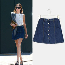 2016 Summer Women Skirt Sexy High Waist Denim Skirts Womens A-line Short Saias Jeans