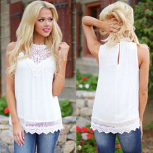 wome solid causal top sleeveless o neck lace hollow out 2016 summer women tank tops china cheap clothes LQ9050R(China (Mainland))