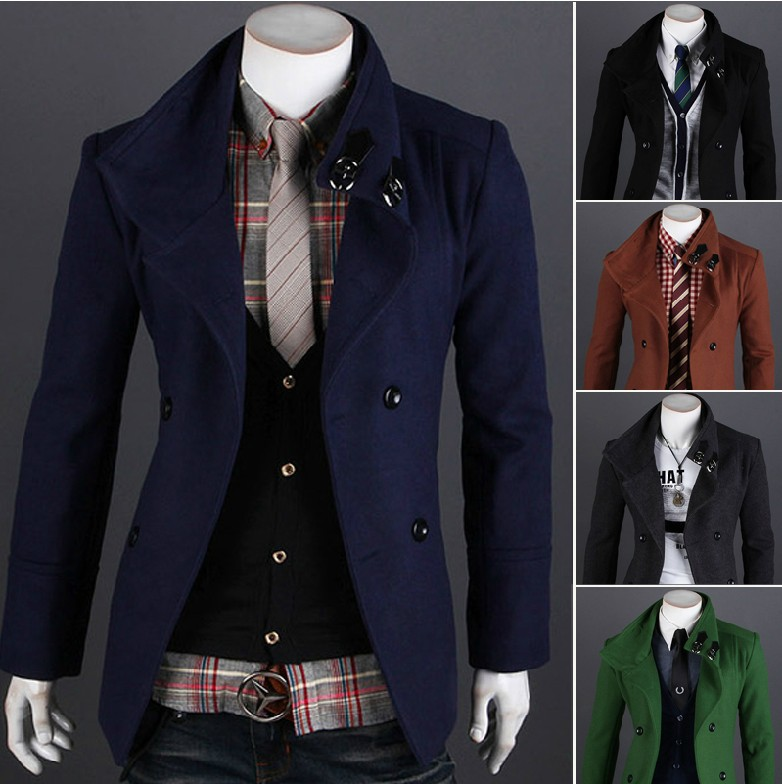 Hot-selling fashion design short coat double breasted woolen outerwear male 2594 - Li Mrs's store