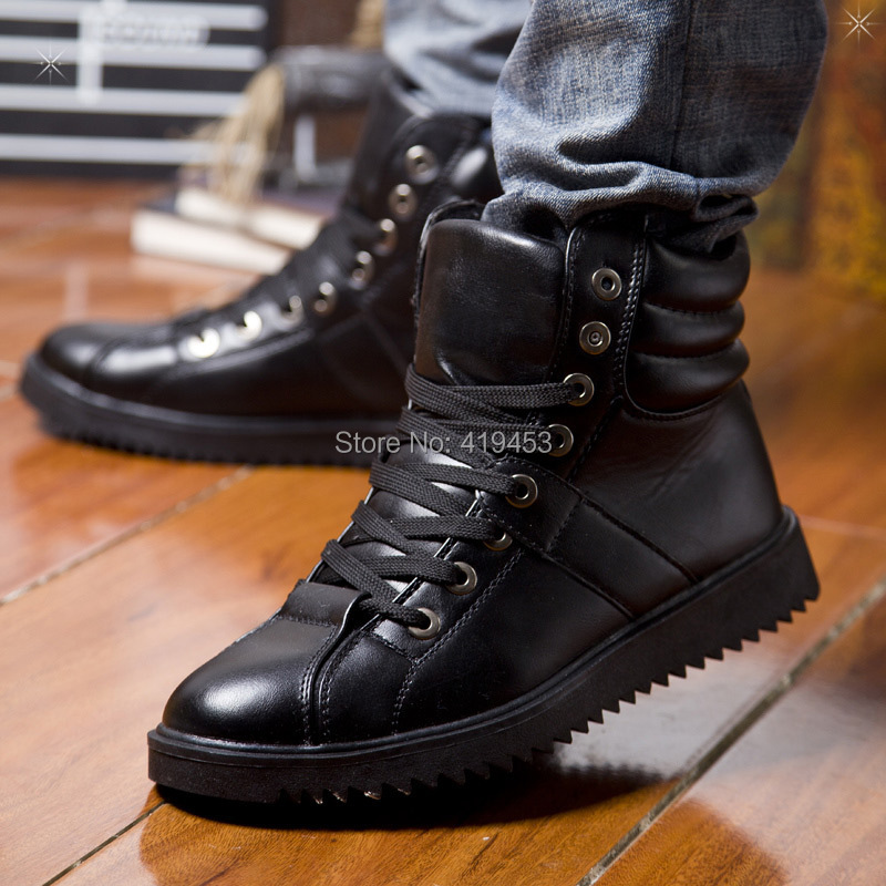 Гаджет  Autumn and winter men fashion Korean PU leather high-top low tube short Martin boots male leisure shoes A205 None Обувь