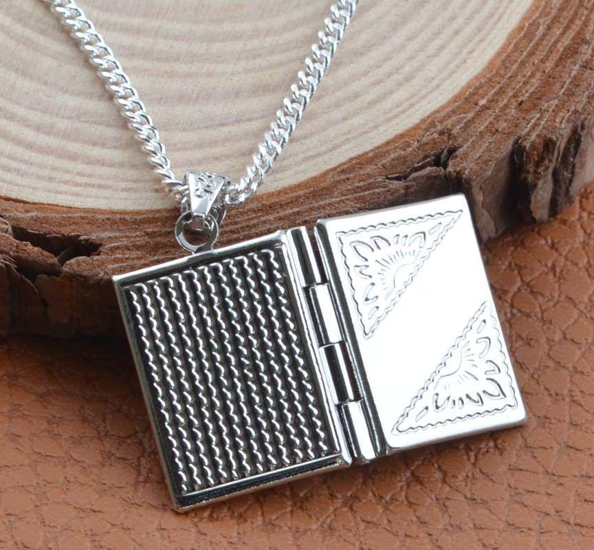 (no chains) Fashion Silver Box Photo Locket Necklace Pendant Xmas Gift Jewelry(China (Mainland))