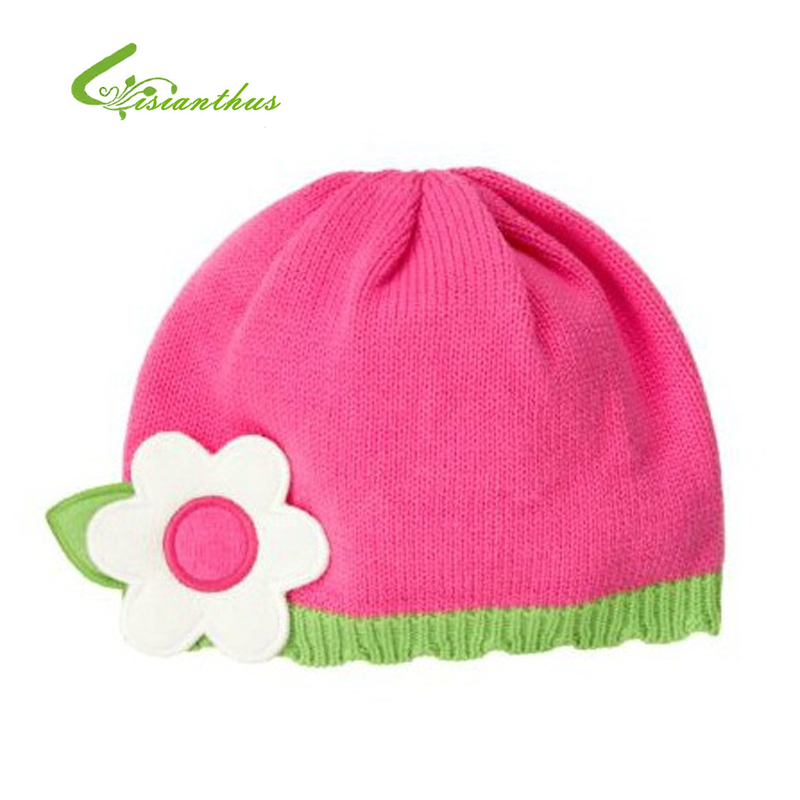 Baby Knitted Caps Children Girls Pink Cotton Hats Stereo Flower Beanies Kids Autumn Winter Skullies Drop Shipping Wholesale New(China (Mainland))