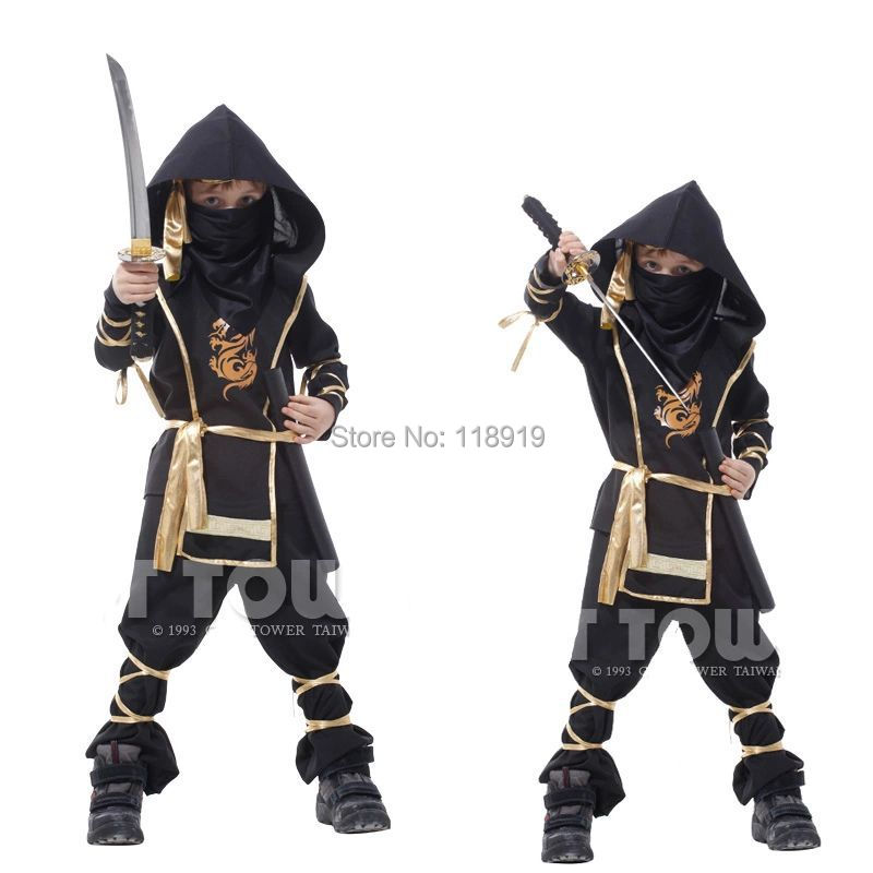 2015 New Deluxe Boys Halloween Party Ninja Costumes Outfit Childrens Fancy Assassin Cosplay Dresses Size M L XL 7 Pcs(China (Mainland))
