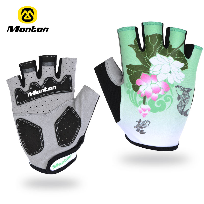 Monton - chinese style viraemia ride semi-finger gloves mountain bike breathable A girl like cycling store
