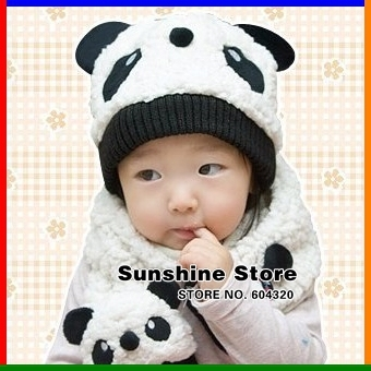 Cartoon Panda kids hats and Scarf Set, Kids Winter  Fleece Hat Scarf, Toddler/children baby cap #2C2582 5 set/lot