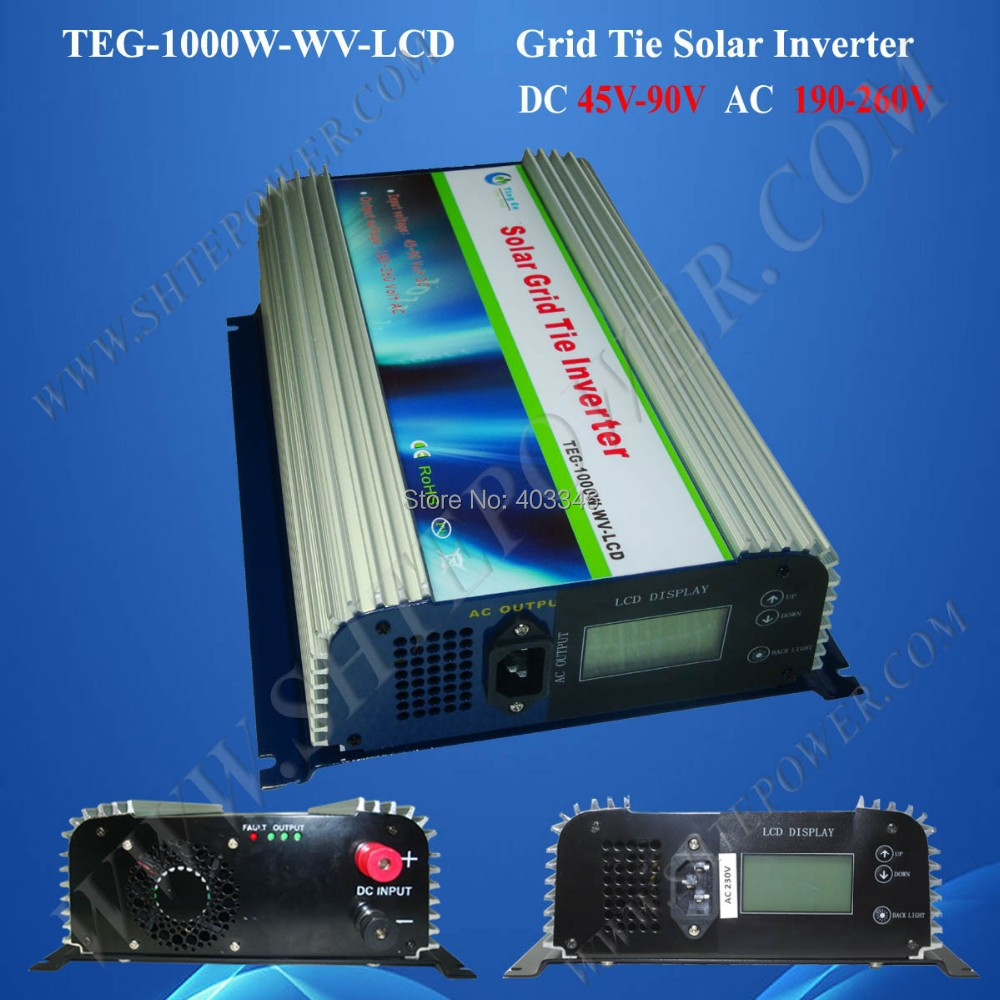 Grid connected pv inverters 1000w, grid connect solar inverter dc 45-90v input to ac 190-260v output(China (Mainland))
