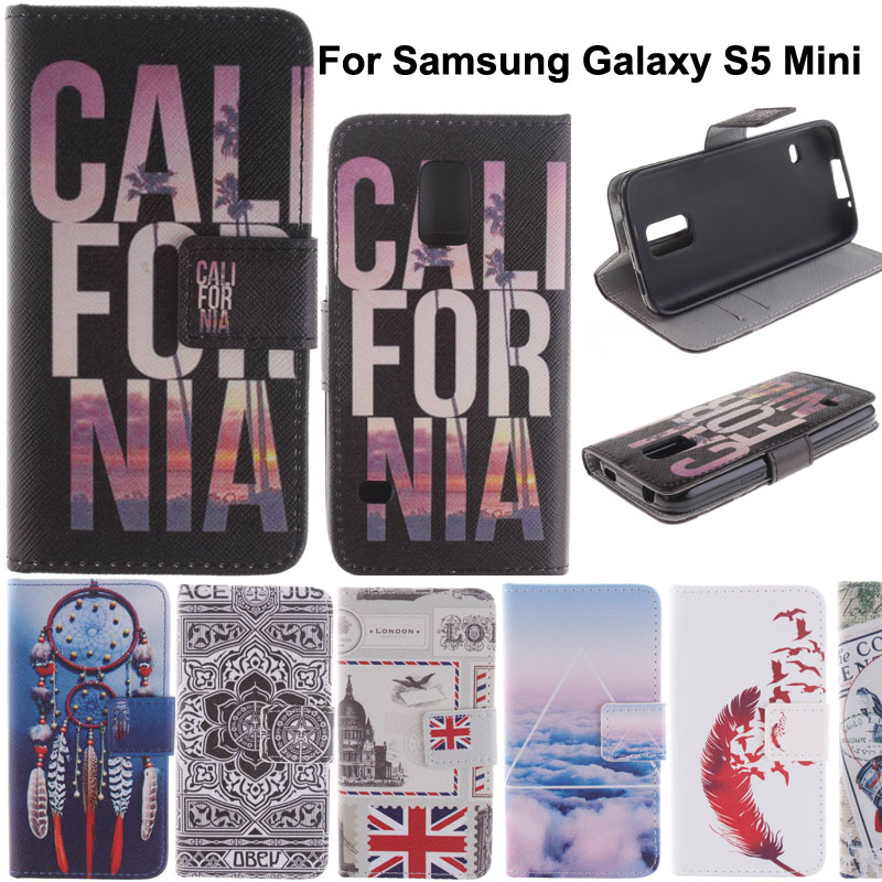 Fashion Colorful Printing Drawing PU Leather Cell Phone Flip Case Cover For Samsung Galaxy S5 Mini G800 Full Protective Bags(China (Mainland))