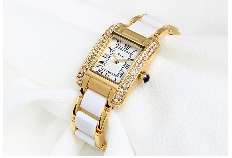 2016 New Kimio Luxury Brand Quartz Women Watches Diamond clock Bracelet Ladies Dress Gold Wristwatch with Gift Box female