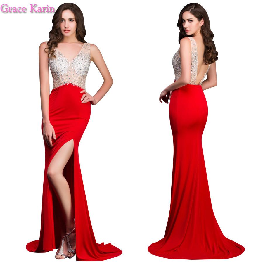 elegante sexy 2015 rode lange hoge split open rug zeemeermin avondjurk jurk ontwerper tegenplinten prom partij jurken(China (Mainland))