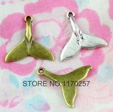 100 PCS / LOT Retro fish tail charms, DIY jewelry accessories tibetan