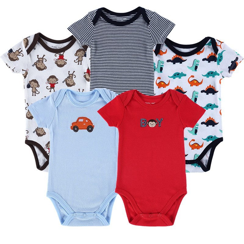 5 Pieceslot Baby Romper Set Short Sleeve Car Trimed Baby Wear Jumpsuits Baby Girl Boy Bebe Clothing Set Body Suits (4)