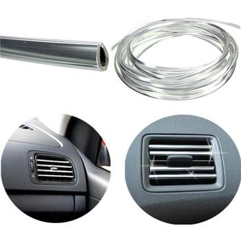 New 4mx 8mm U Shape Car Air Vent Grille Switch Rim Trim Conditioner Outlet Decoration Strip Moulding Chrome Silver