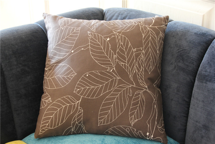 Free shipping Deep Gray Big Leaves Cushion Cover Pillow Case Pillow cover pillowcase suiting table cloth sold in my store(China (Mainland))