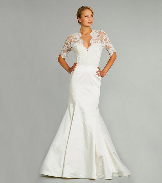 Elegant Plus Size Wedding Dresses 2016 New Fashion Sheer Half Sleeve Open Back V-Neck Ivory Charmeuse Mermaid Bridal Dress Gowns(China (Mainland))
