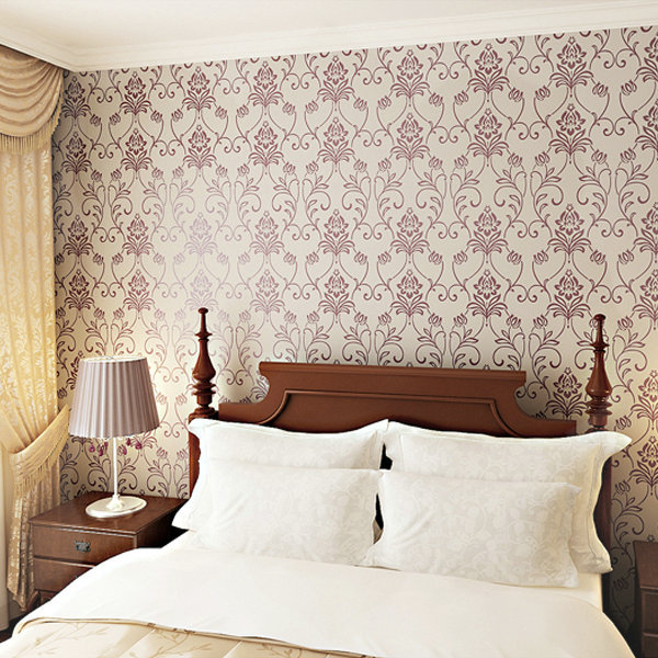 bancada classic damask pattern flocking pvc wallpaper rollsc bedroom