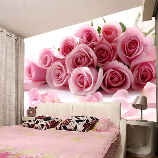 Can be customized large waterproof large mural wall paper for 3d rose wallpaper for bedroom
