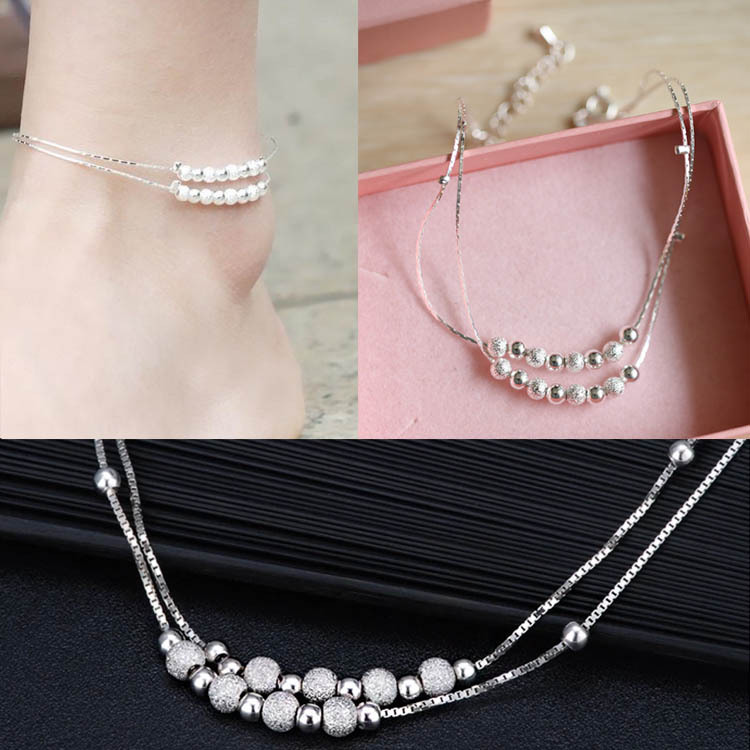 Elegant Women Beads Foot Chain Copper With Silver Plating Ankle Bracelet Hot Fashion Body Jewelry Body-0093(China (Mainland))