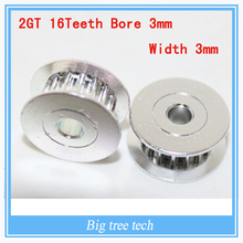 5PCS 3D printer parts 2GT16 tooth bore 3mm synchronous wheel pulley H type passive idler pulley wheel Bearings wheel