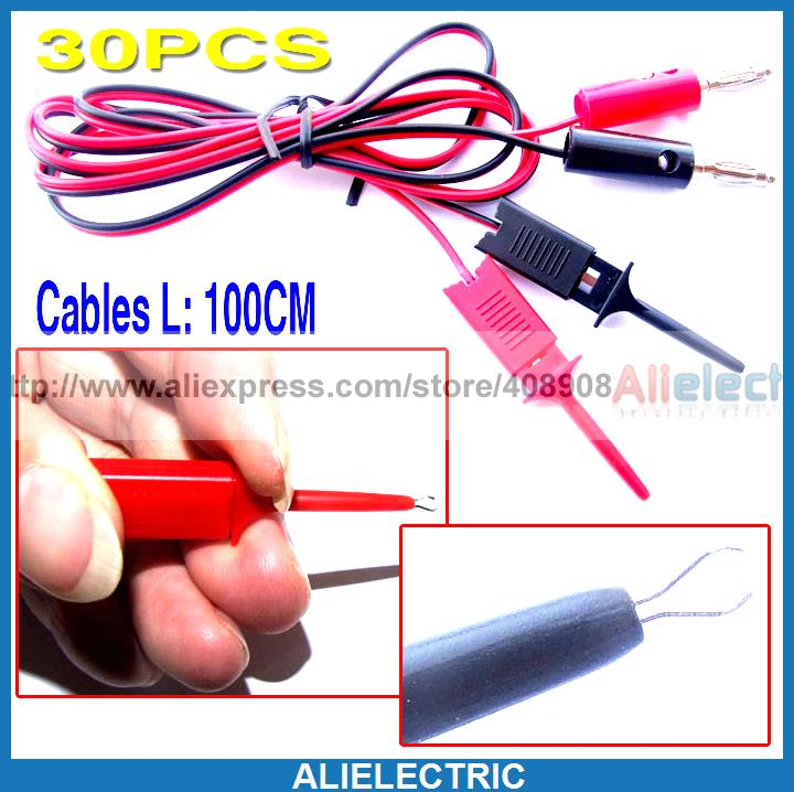 30pcs Probes IC PCB Test Hook Clip to Banana Plug Cable<br><br>Aliexpress