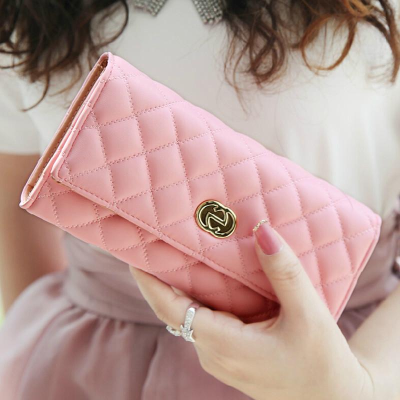Гаджет  2015 New Fashion Women Wallets High Quality Soft Leather Plaid  Ladies Purse Famous Brand Designer Clutch Bag Carteira Feminina None Камера и Сумки