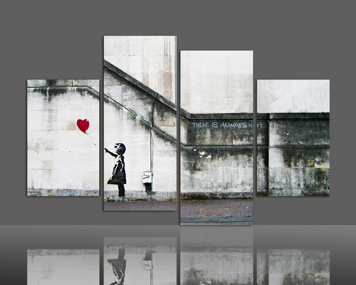 2016 new arrivlas house wall art decorate painting by numbers 4 Pieces Canvas Print Fly the Heart Painting On Canvas Picture(China (Mainland))