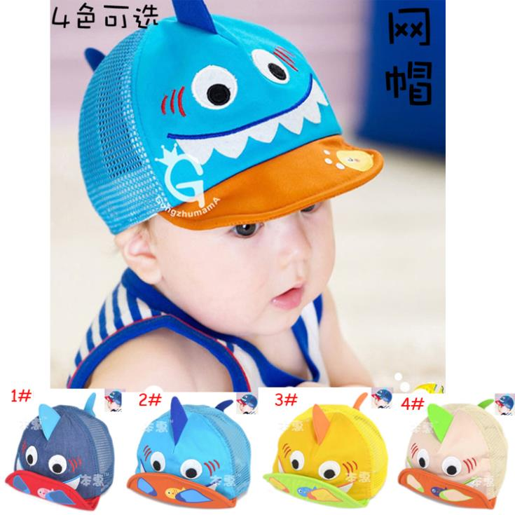 Cartoon Shark Design Baby Kids Baseball Cap Toddler Foldable Baseball Hat Children Mesh SunHat Sports Hat 10pcs MZC-14029(China (Mainland))
