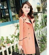 M-XXXL Trench Coat Women 2015 Autumn And Winter Women's Jackets Slim Female Long Trench Coat Jacket burderry Free Shipping(China (Mainland))