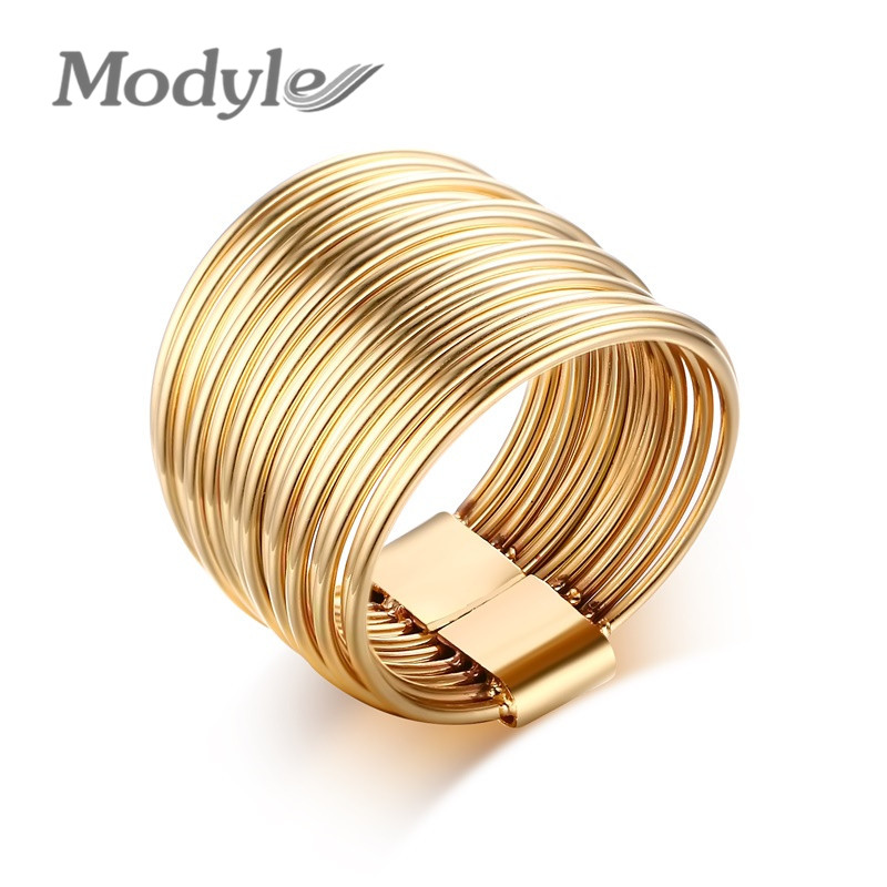 Modyle 2016 New Personality Women & Men Jewelry Fashion Stainless Steel 18K Gold Plated Ring(China (Mainland))
