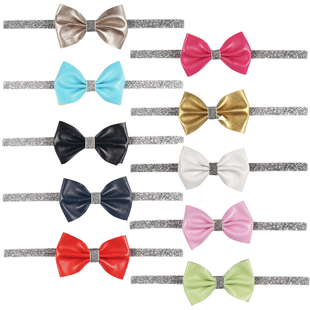 New Fashion Boutique Solid Leather Bow Headband For Baby Kid Stretch Silver Glitter Hair Band Headwear(China (Mainland))