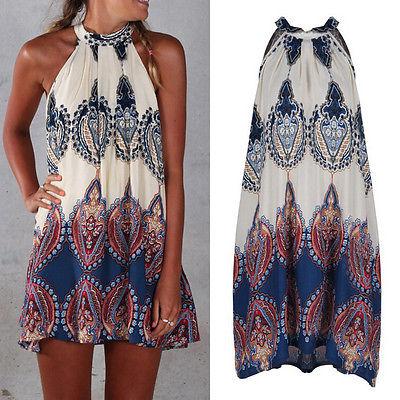 GL Fashion Women Boho Dress Summer loose Printed Halter Style Sleeveless Hippie Mini Dress Plus Size Women Clothing Vestidos Bei(China (Mainland))