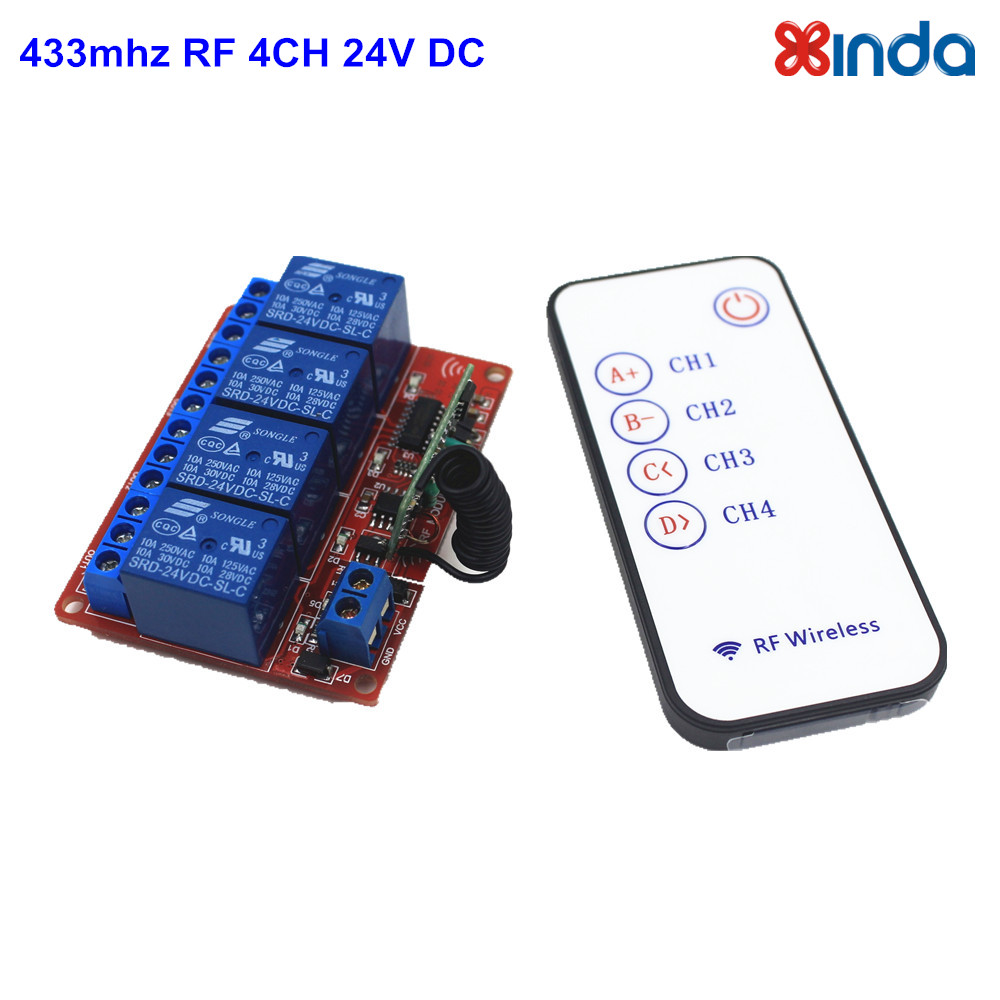New 433mhz Universal Remote Control Switch 24V DC 4 Channel Relay Module  with 5 Key RF Controller Transmitter<br><br>Aliexpress