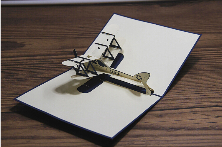 10pcs/lot Free shipping Creative Paper Helicopter 3D hand made greeting cards, post card, business(China (Mainland))