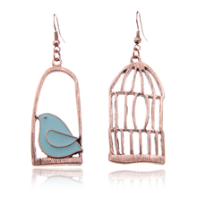 2016 Vintage Gold Color Fashion Design Oil Bird-Cage Lovely Drop Earrings For Women Brincos Peace Dove Bird Cage Dangle Earrings(China (Mainland))