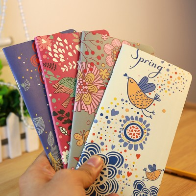Free shipping BF050 Passion flower and bird design small book retro kraft paper Notepad mini portable notebook 17.3*9cm(China (Mainland))