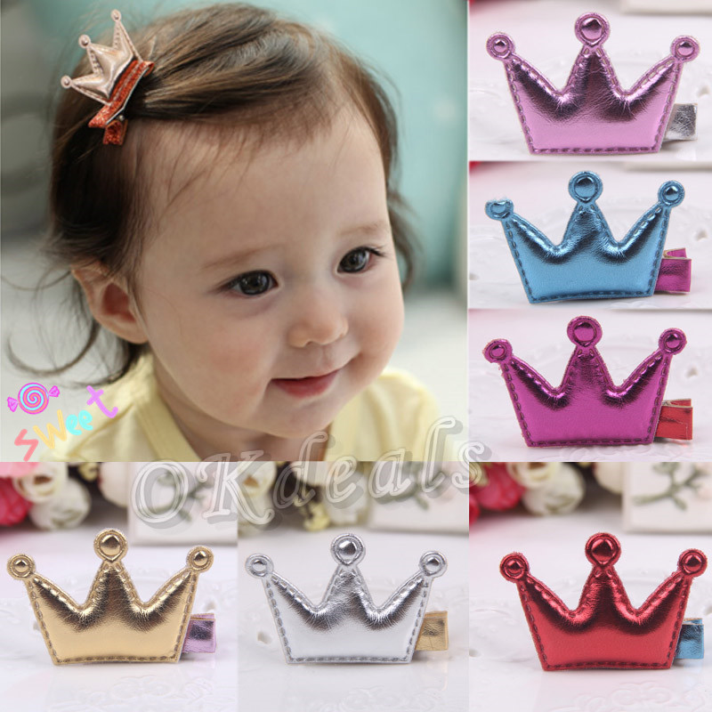 Hot Baby Girls Leather Xmas Gifts Party Hair Clips Crown Princess Barrette Ribbon(China (Mainland))