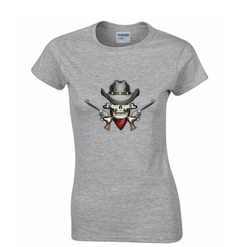2016 summer women fashion Skull guns printed cotton t shirt hip hop rock casual-shirts tshirts tees tops woman clothes Plus size(China (Mainland))