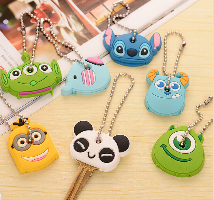 cartoon silica gel key chains key rings piece set silicone car key cover volkswagen for men women with rhinestones set new hot(China (Mainland))