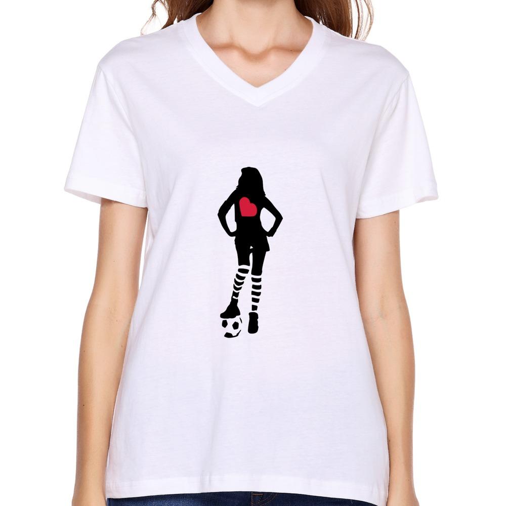 1pcs Free Shipping V Neck Womens T Shirt football player girl -3 Customize Humor Symbols Women T Shirts(China (Mainland))