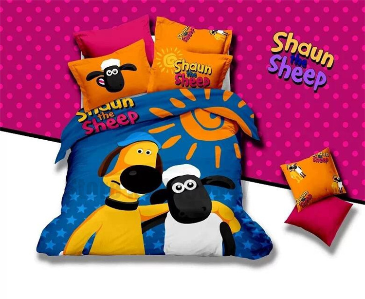 Shaun Sheeps cartoon bed duvet cover set King Twin Queen 100% cotton bedding set bed linen Flat Fitted sheet sets coverlets LF(China (Mainland))