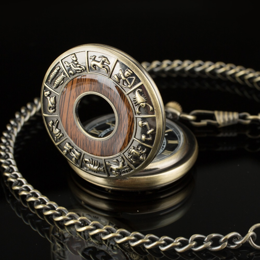 PACIFISTOR Pocket Watch Twelve Animals Zodiac Antique Constellation Classic Chain Pendant Pocket Watch Chinese Style