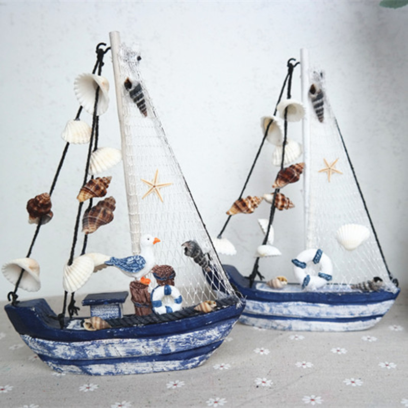 Wood boat craft mediterranean style wooden ship model diy