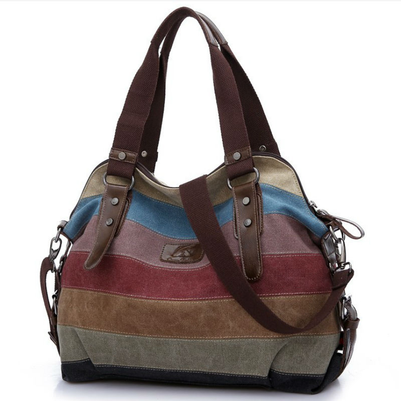 2016 Canvas handbags top quality women famous shoulder bag designer casual cross body messenger bag color block large tote bolso(China (Mainland))